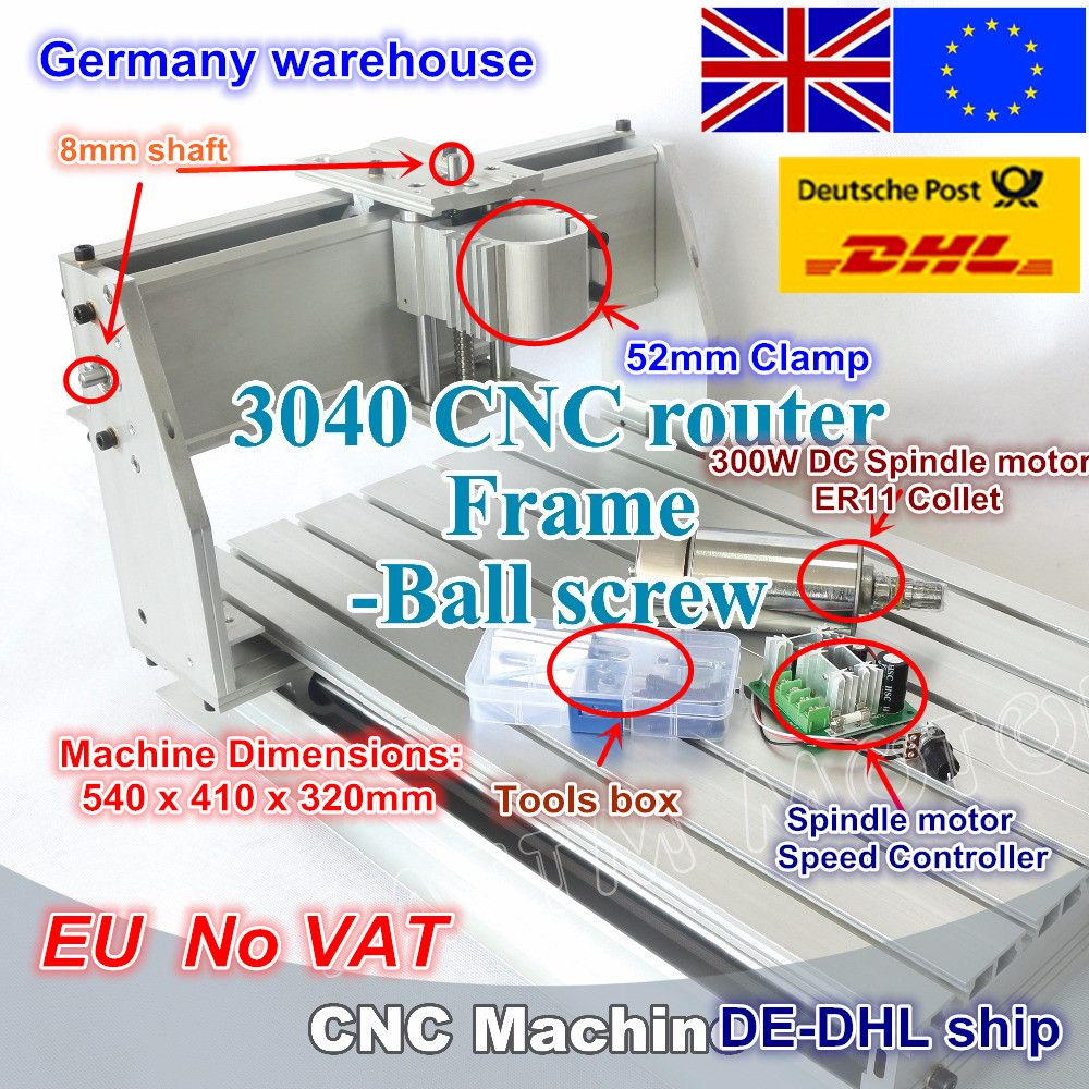 EU ship/free VAT New 3040 CNC router milling machine mechanical kit ball screw with 300W DC spindle motor