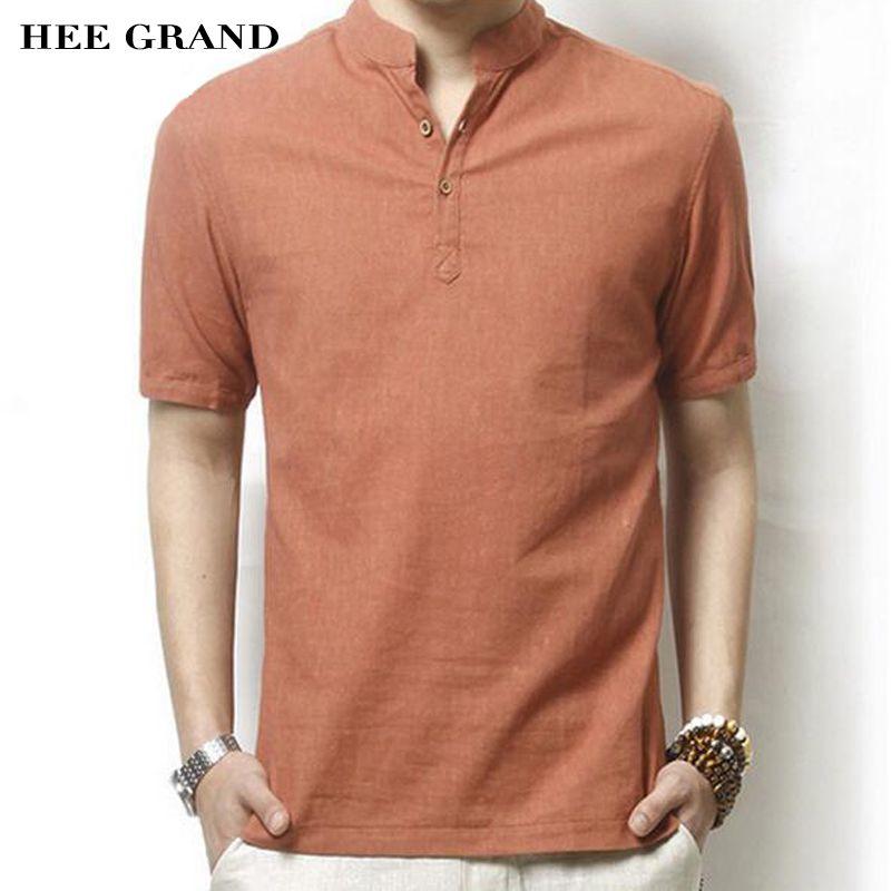Hee Grand/мужчин Linen Short-Sleeve Shirt жаркое лето новое поступление однотонные повседневные воротник-стойка Тонкий Camisa masculina MCS414