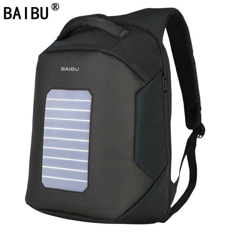 BAIBU Men Backpack Solar Powered Backpack Usb Charging Anti-Theft 15.6'' Laptop Backpack for Men Laptop Bagpack Waterproof Bags