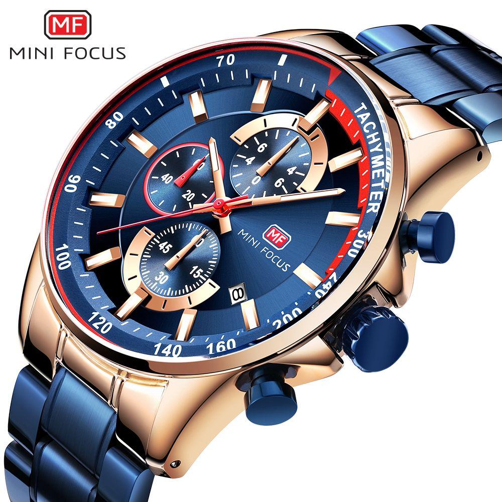 MINI FOCUS 2019 mode bleu montre hommes Quartz horloge métal bracelet multifonction calendrier sport hommes montres Top marque de luxe