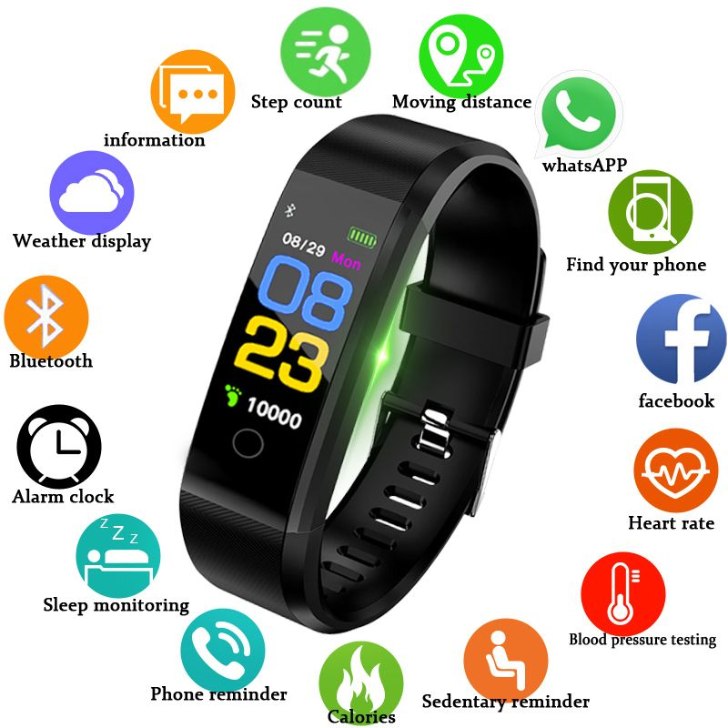 Sport Smart Watch Men Women Bluetooth Digital LED Smart Watch Waterproof Blood Pressure Heart Rate Pedometer For Android iOS+Box
