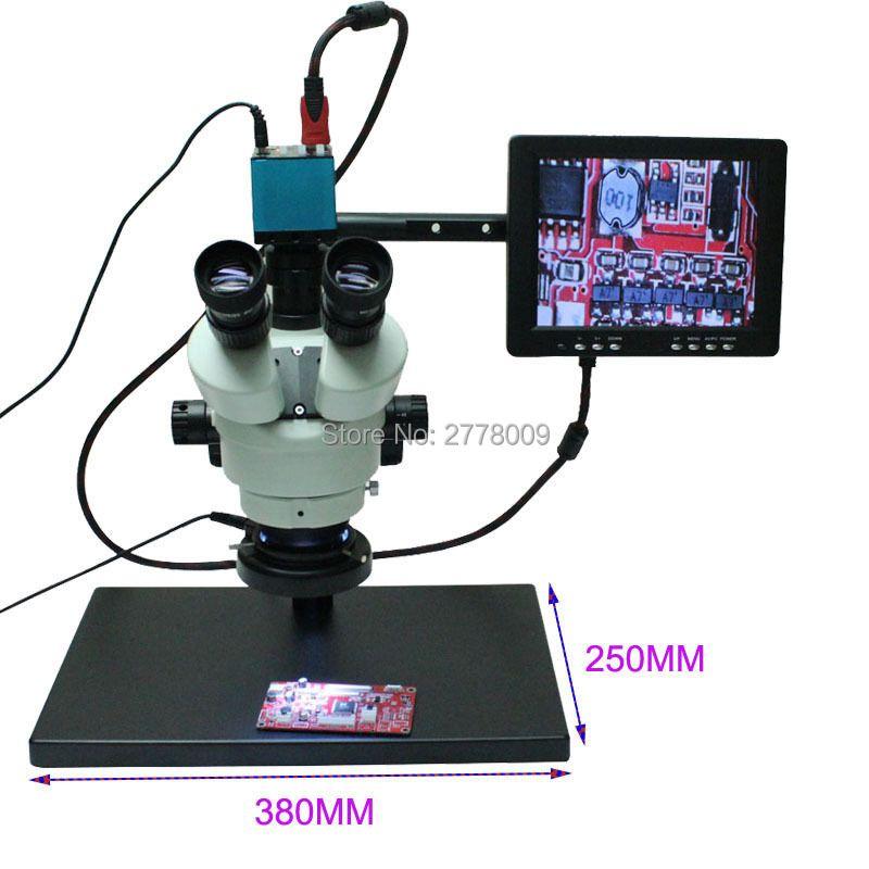 Continuous Zoom Binocular Visual 3.5X-90X Trinocular Stereo Microscope 14MP HDMI USB Microscope Camera 8-inch Monitor