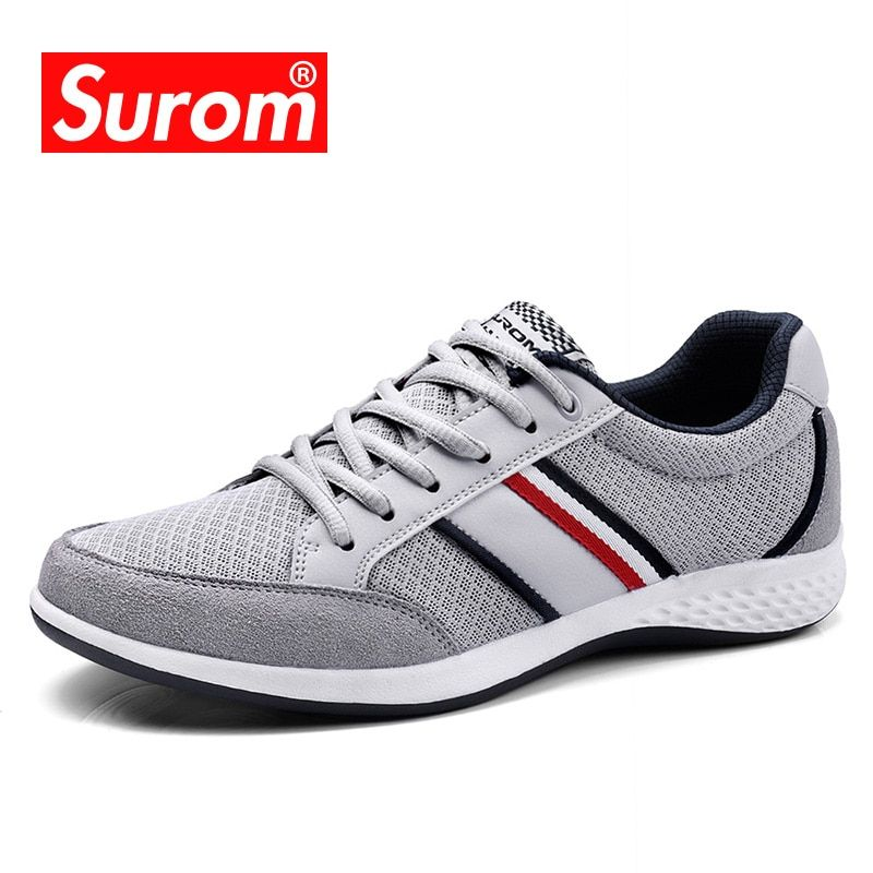 SUROM Summer Men's Shoes Breathable Leather Mesh Casual Shoes Men Luxury Brand Fashion Footwear Spring Autumn Shoes Sneakers Men