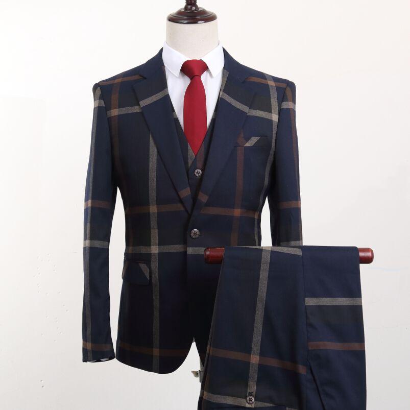 (Jacke + Pants + Weste) Marke Mode Herrenanzüge Blazer Streifen Slim Fit Bräutigam Hochzeit Prom Blau anzug Männlichen Smoking Geschäfts Formalen