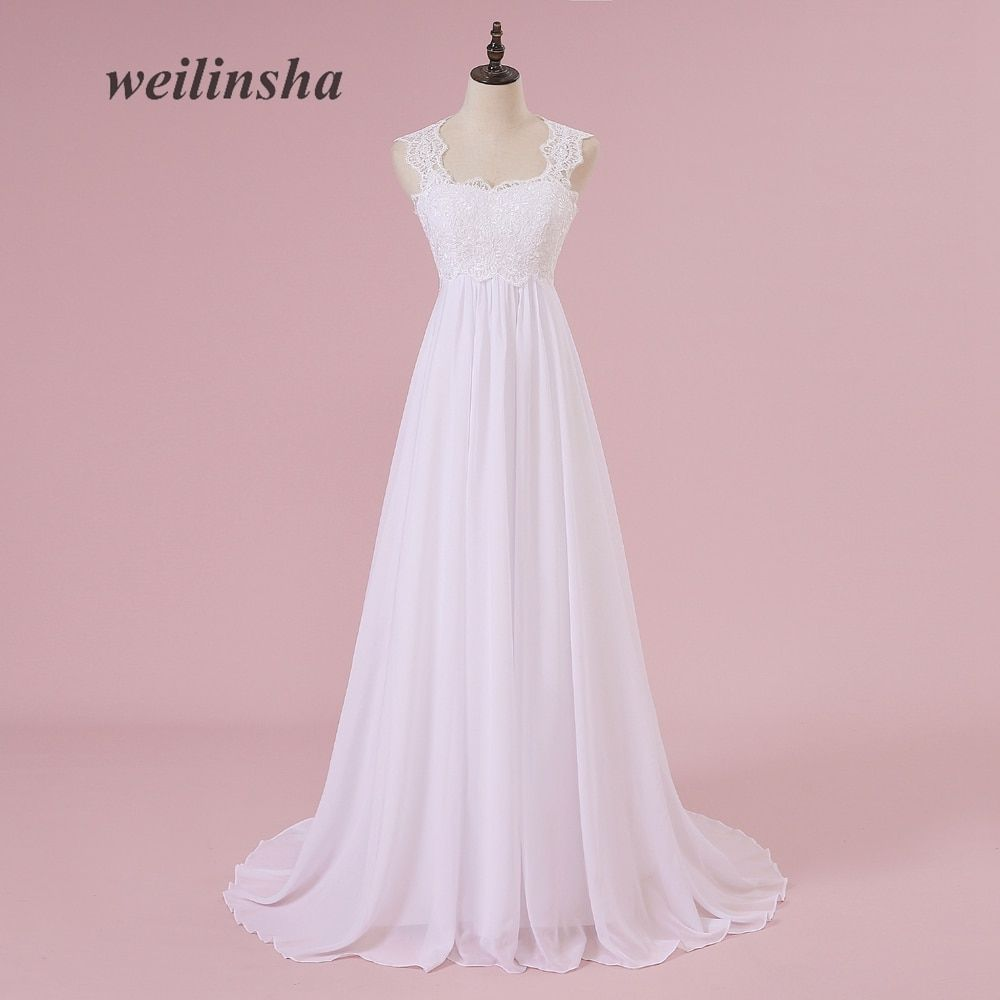 weilinsha Beach White Wedding Dresses Lace Chiffon Pregnant Brides Dresses Cheap Sweep Train Wedding Gowns 2018 Vestido de Noiva