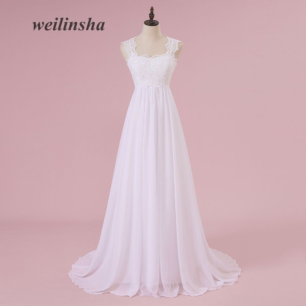 weilinsha Beach White Wedding Dresses Lace Chiffon Pregnant Brides Dresses Cheap Sweep Train Wedding Gowns 2018 Vestido de Noiva