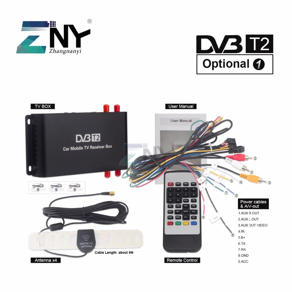 ZNY Car DVB-T2 DVB-T MPEG4 Digital TV Box 4 Seg Support 180-200KM/H Speed Driving Digital Car TV Tuner HD 1080P TV Receiver