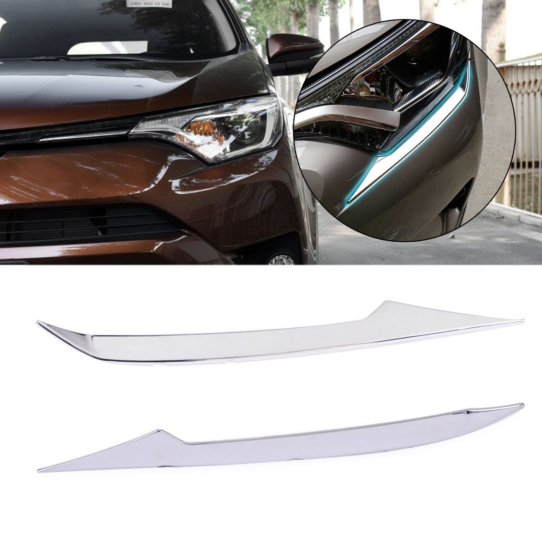 DWCX 2x Car Styling Decoration Left + Right Chrome Plated Front Head Light Eyelid Trim Molding Fit for TOYOTA RAV4 2016 2017