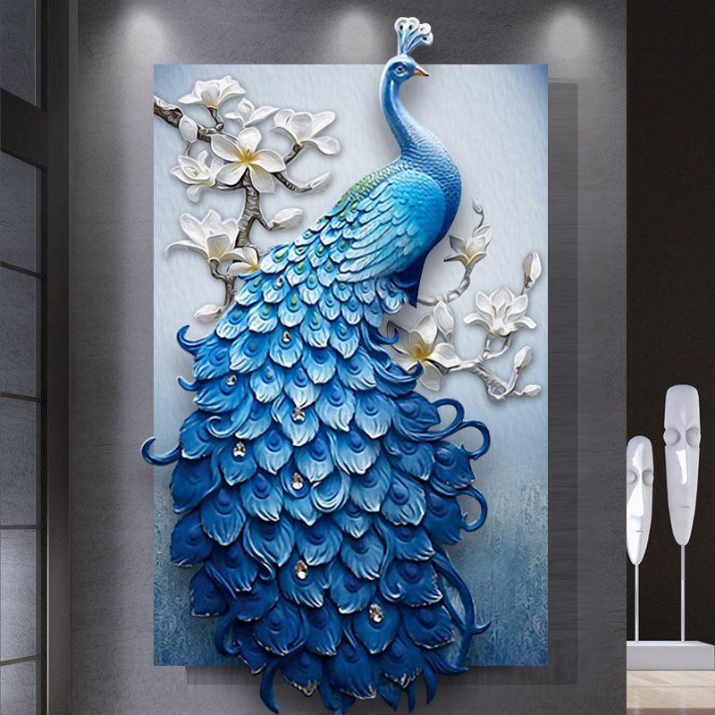 Новый 5D полный алмазов Вышивка Павлин поделки алмазов картина мозаика крестом животных Бриллиантовая комната декора гостиной