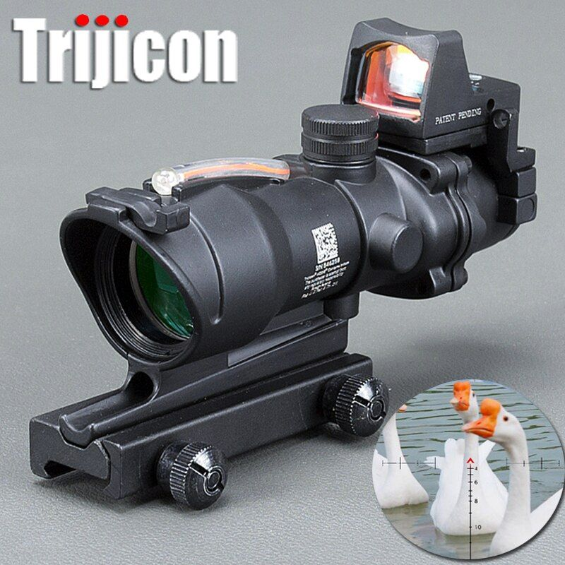 Trijicon Acog 4x32 Optic Scope Riflescope Cahevron Reticle Fiber Green Red Illuminated Optic Sight With Rmr Mini Red Dot Sight