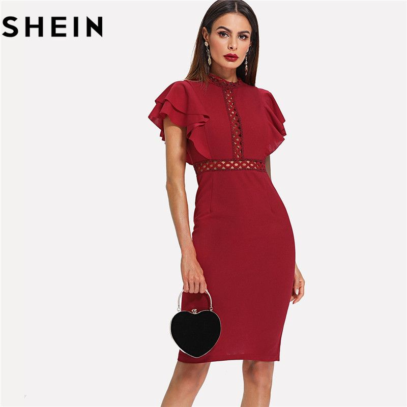 SHEIN Burgundy Red High Waist Vintage Ruffle Sleeve Lady Bodycon Dress 2018 <font><b>Elegant</b></font> Retro Party Lace Eyelet Hem Slit Dresses New