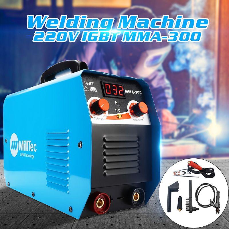 Portable MMA-300G Mini Welding DC Welding Machine 220V 25A-300A Semi-Automatic Inverter LCD Soldering Tool Welding Working