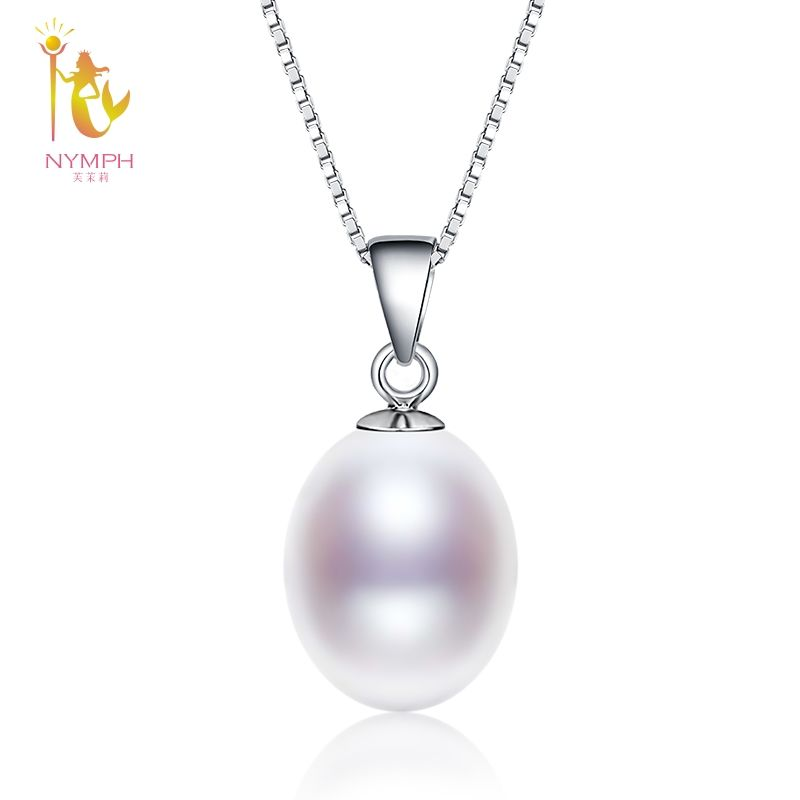 [NYMPH] Pearl Necklace Pendant Fine Jewelry 925 Sterling Silver Natural Freshwater Pearl Jewelry Christmas Party For Women D02