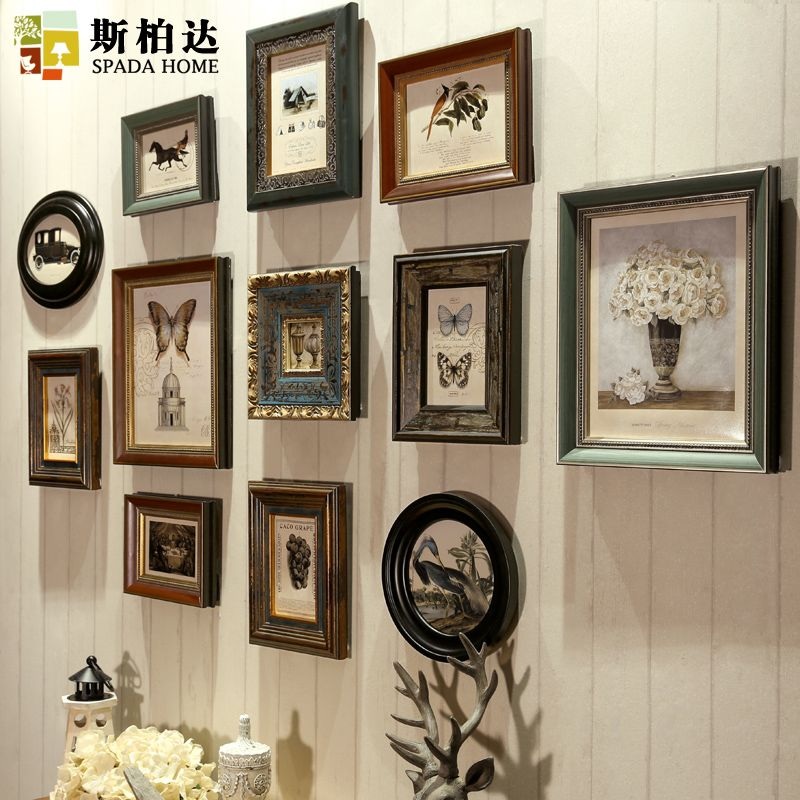 12 Pieces/set Continental Wood Photo Frame American Vintage Photo Frame Set Creative Photo Frame