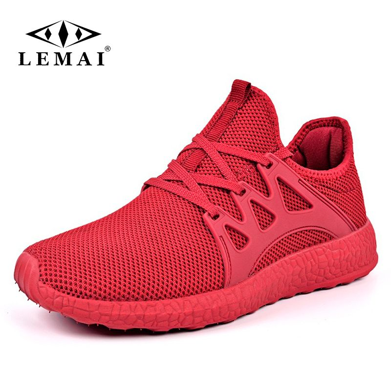 LEMAI New Simple Men Running Shoes Summer Autumn Breathable Mesh Boy Red Sneakers Male Outdoor Sport Light Trainers FB036-1