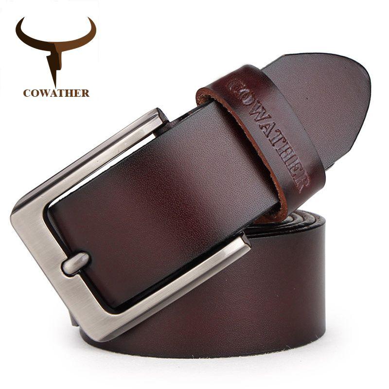 COWATHER männer gürtel kuh echtes leder designer gürtel für männer hochwertige mode vintage männlicher bügel für jaens kuh haut XF002