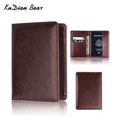 KUDIAN BEAR обложка для паспорта Женская Обложка для паспорта с защитой от сканирования RFID дизайнерский чехол для путешествий держатель для кре...