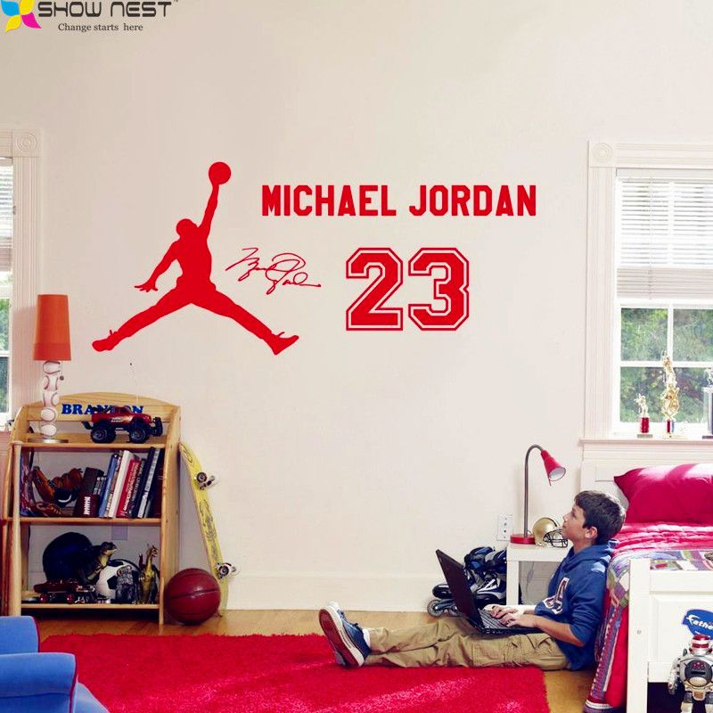 Michael Jordan 23 Sticker Vinyle Autocollant, enfants de Basket-Ball Garçons Idol Affiche, enfants Chambre Mur Art Mural BRICOLAGE Home Decor