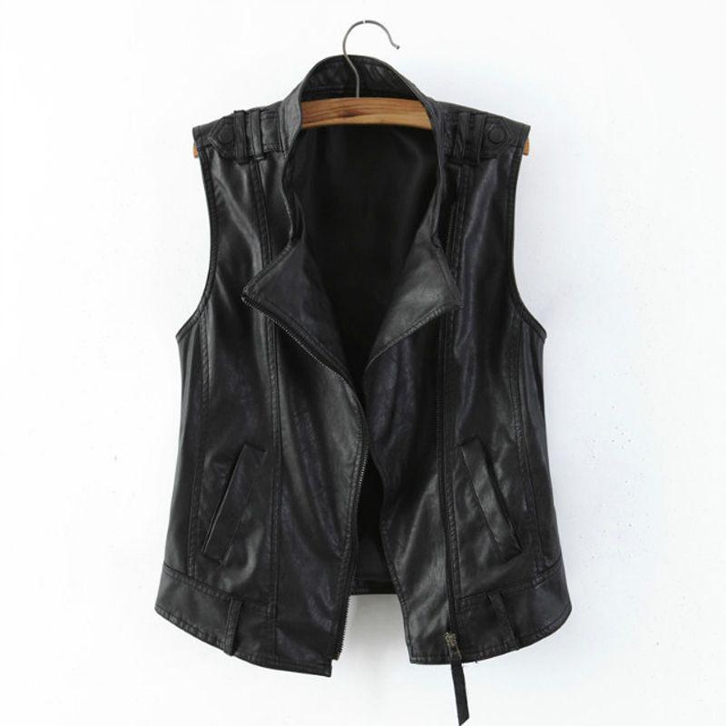 Female Black Leather Vest Fashion Zipper Motorcycle Leather Clothing Women's All Match PU Leather Waistcoat Plus Size 3XL