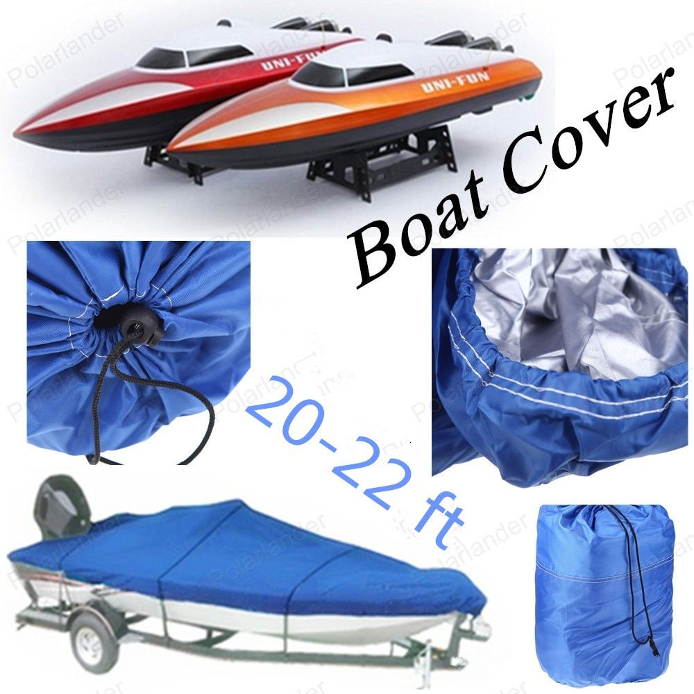 Boat Cover NEW Heavy Duty Fishing Ski Runboat Boat COVER 20-22 Ft 100inch Beam V-Hull Waterproof Blue Waterproof Kit