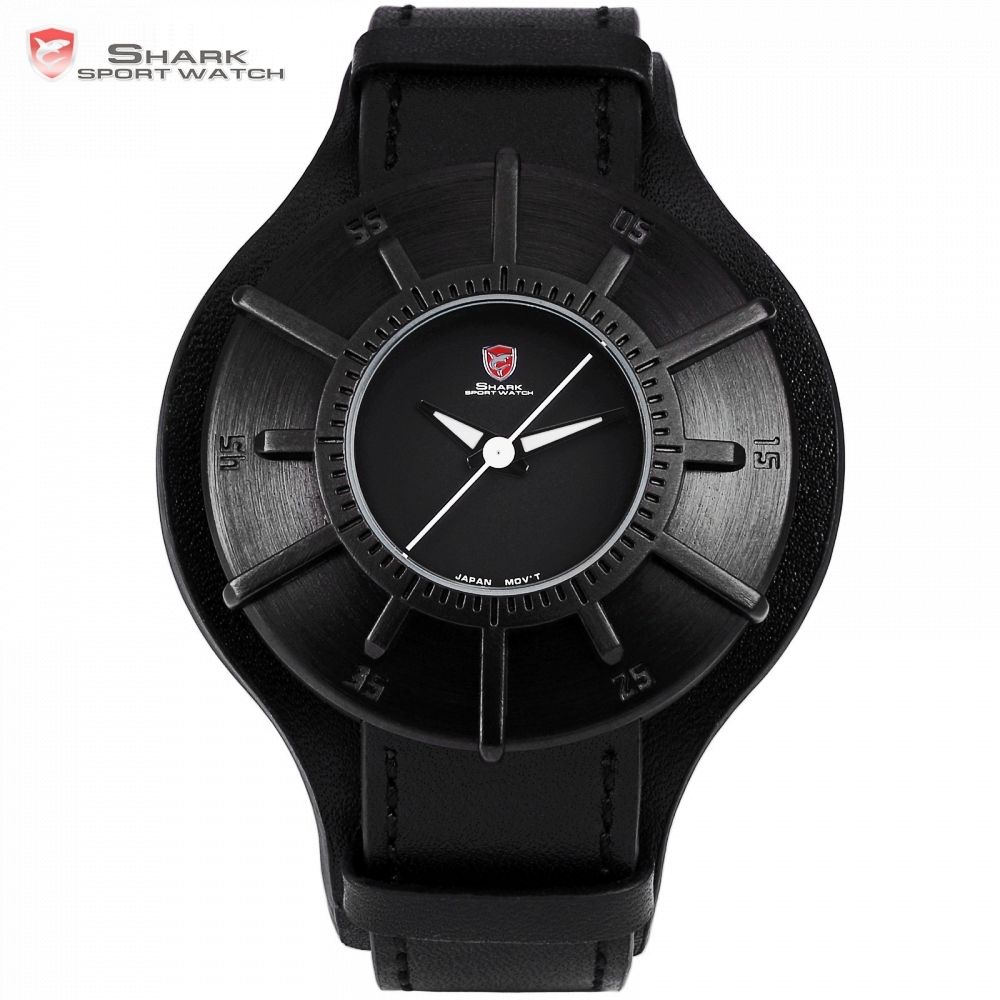Silky Shark Sport Watch 2018 Men Watches Brand Luxury Black 3D Oversized Dial Military Quartz Genuine Leather Male Clock /SH482