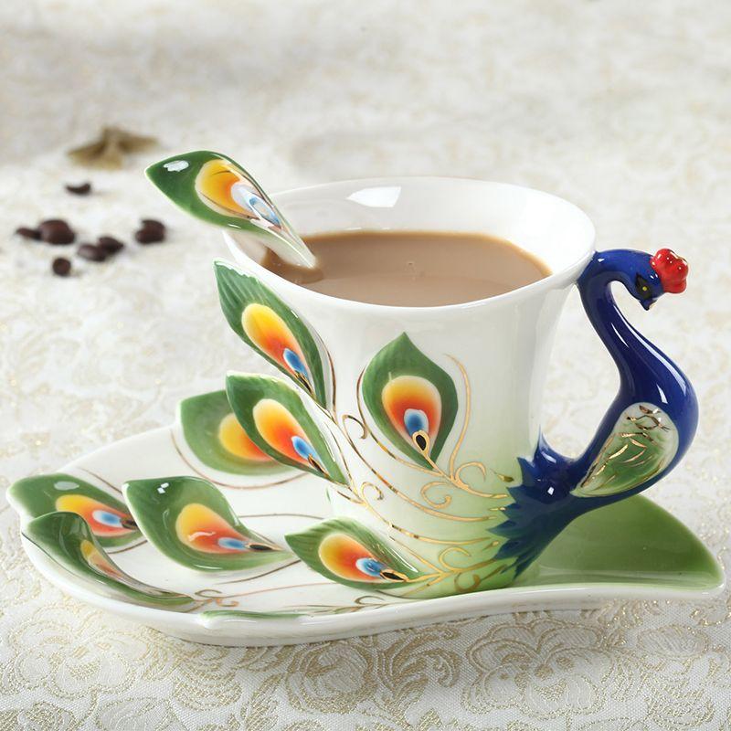 1 pièces paon tasse à café en céramique créative tasses os chine 3D couleur émail porcelaine tasse avec soucoupe et cuillère café thé ensembles