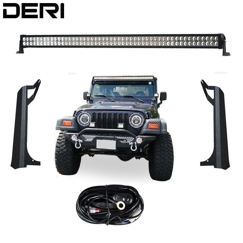 5D 3D 50 inch 288W Dual Row Straight LED Work Light Lamp Bar + Windshield Mounting Brackets For Jeep Wrangler TJ 1999-2006 Kit