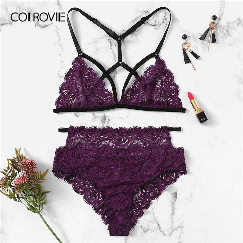 COLROVIE Lila Solide Scalloped Harness Spitze Sexy Dessous Frauen Dessous Set 2019 Wireless Transparente Unterwäsche Bh Set
