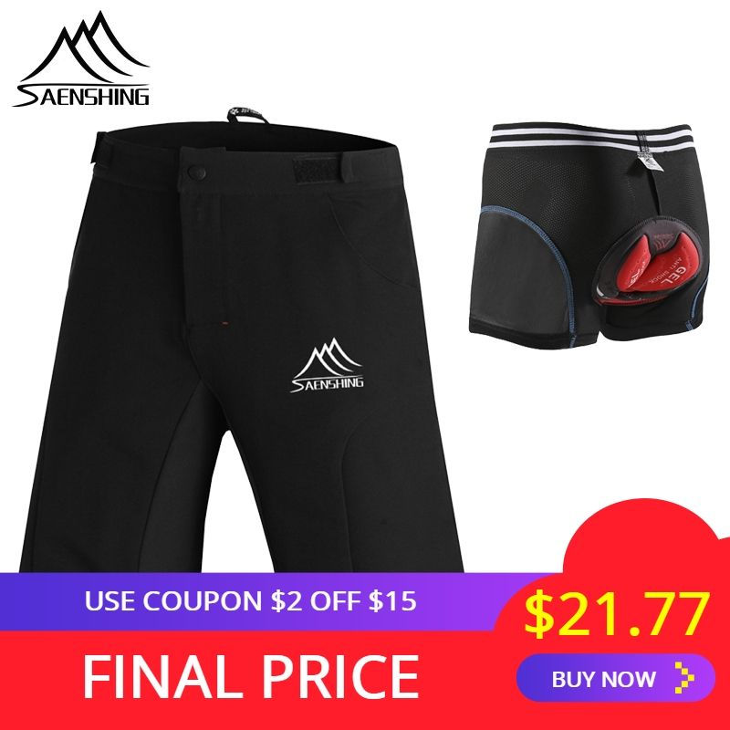 SAENSHING Cycling Shorts Men + Gel Pad Cycling Underwear Padded MTB Mountain Bike Shorts Bicycle Downhill Bermuda Breathable