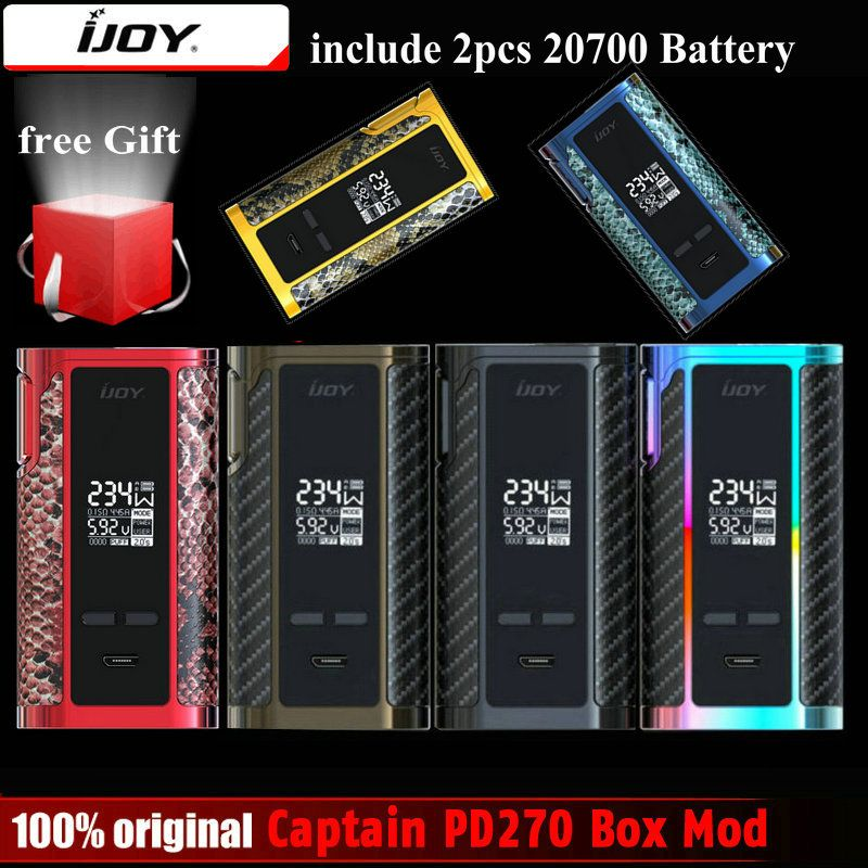 Original IJOY Captain PD270 Box Mod Vape 234W NI/TI/SS TC Electronic Cigarette Vaper Power by Dual 20700 Battery