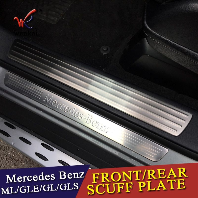 For Mercedes Benz GL GLS X166 ML GLE W166 4pieces Car-Styling Door Sill Scuff Plate Welcome Pedal Trim Cover Sticker Accessorie