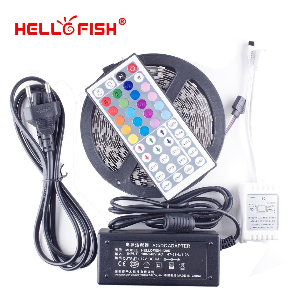 Hello Fish 5M 5050 300 SMD RGB Flexible LED Strip Light and 44 keys IR Remote Controller +12V 5A 60W <font><b>Power</b></font> Adapter Kit