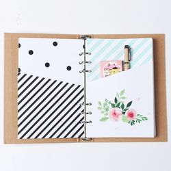 Nouveau mignon d'origine creative main 6 trous liant planificateur cahier à spirale à l'intérieur organisateur poche accessoires papeterie A5 A6