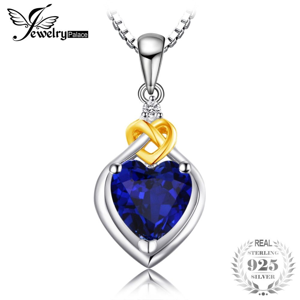 JewelryPalace Love Heart 2.5ct Created Sapphire Pendant Necklace 100% 925 Sterling Silver 45cm Box Chain Woman Fine Jewelry