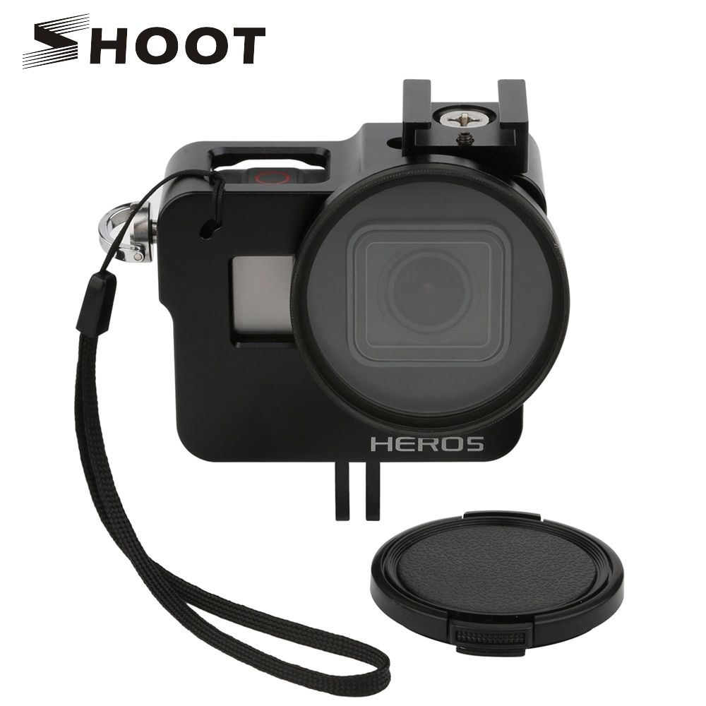 SHOOT CNC Aluminum Alloy Protective Case for GoPro HERO 5 Black Camera Cage Mount with 52mm UV Lens for GoPro Hero 5 Accessory