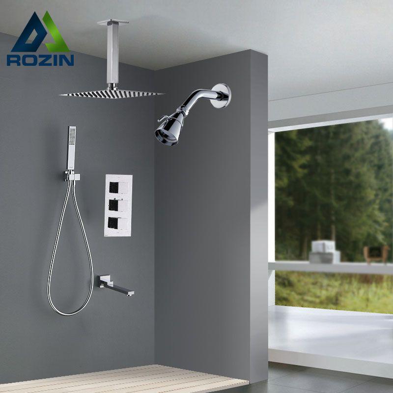 Luxus Dual Head Dusche Wasserhahn Set Deckenmontage Chrome Bad dusche Mischer mit Handbrause Badewanne Auslauf Wandmontage Dusche kopf