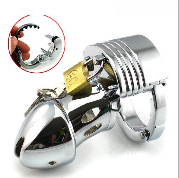 Men Male Adjustable Stainless Steel Male Chastity Device Cages Virginity Locks Chastity Penis Ring Penis Lock Men Chastity lock