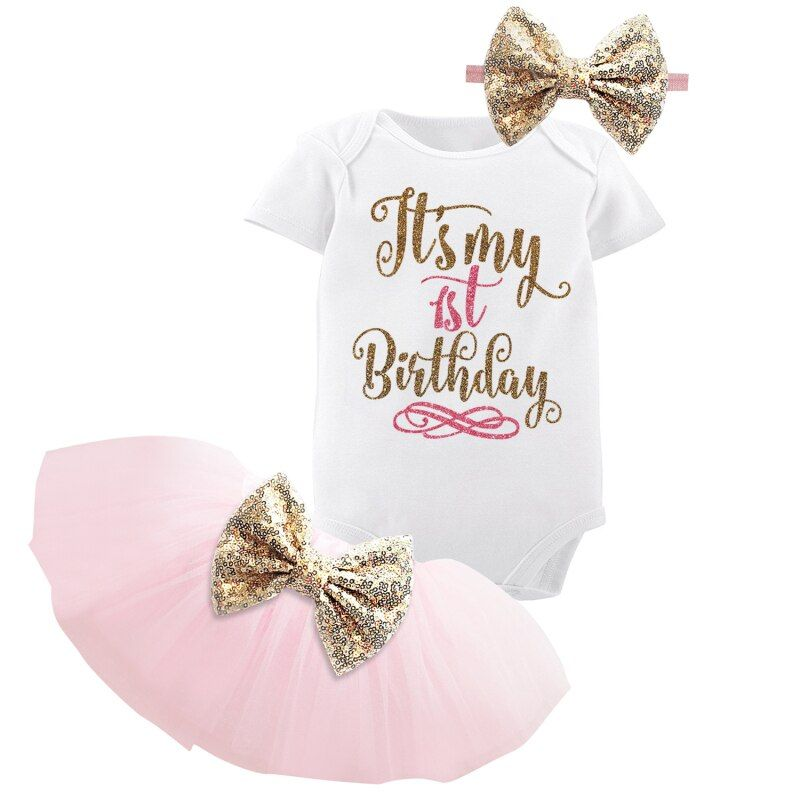 1 Year Baby Girl Birthday Dress Kids Baby Clothes Gold Bow 6 Months 1st 2nd Birthday Christening Dresses For Girls Party Wear