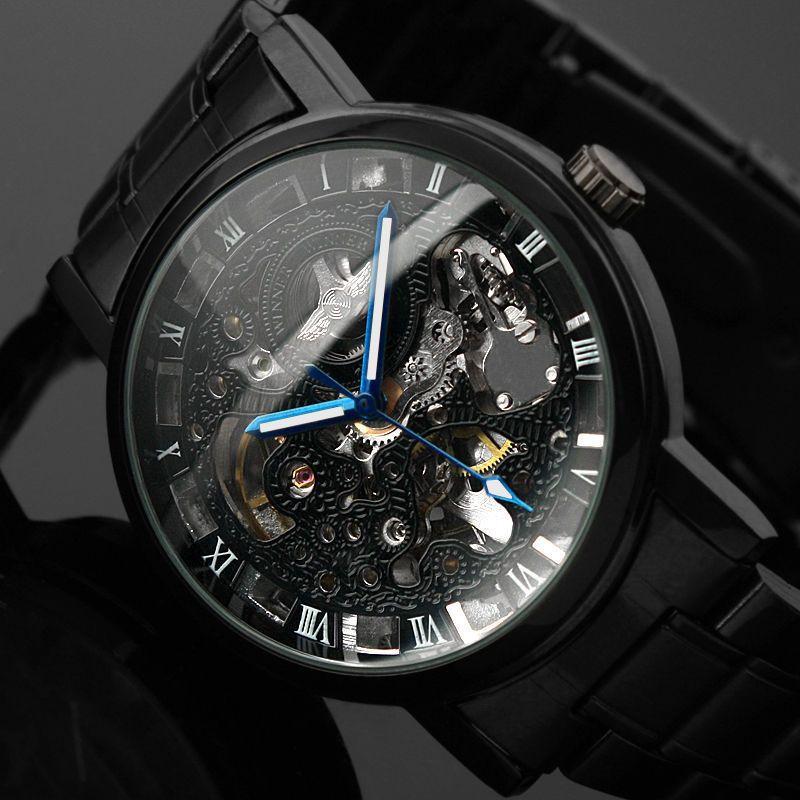 2019 nouveau noir hommes squelette montre-bracelet en acier inoxydable Antique Steampunk décontracté automatique squelette mécanique montres mâle