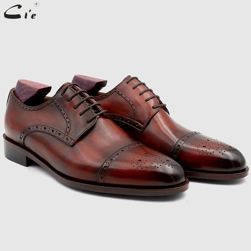 cie Bespoke Custom Handmade Full Grain Genuine Calf Leather Blake Stitch Breathable Lacing Men's Derby shoe Patina Brown No.DE03