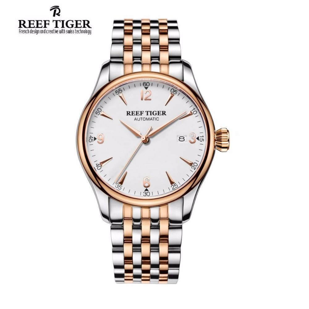 New 2017 Reef Tiger/RT Mens Top Luxury Analog Automatic Watches White Dial Simple Style Watch RGA823G