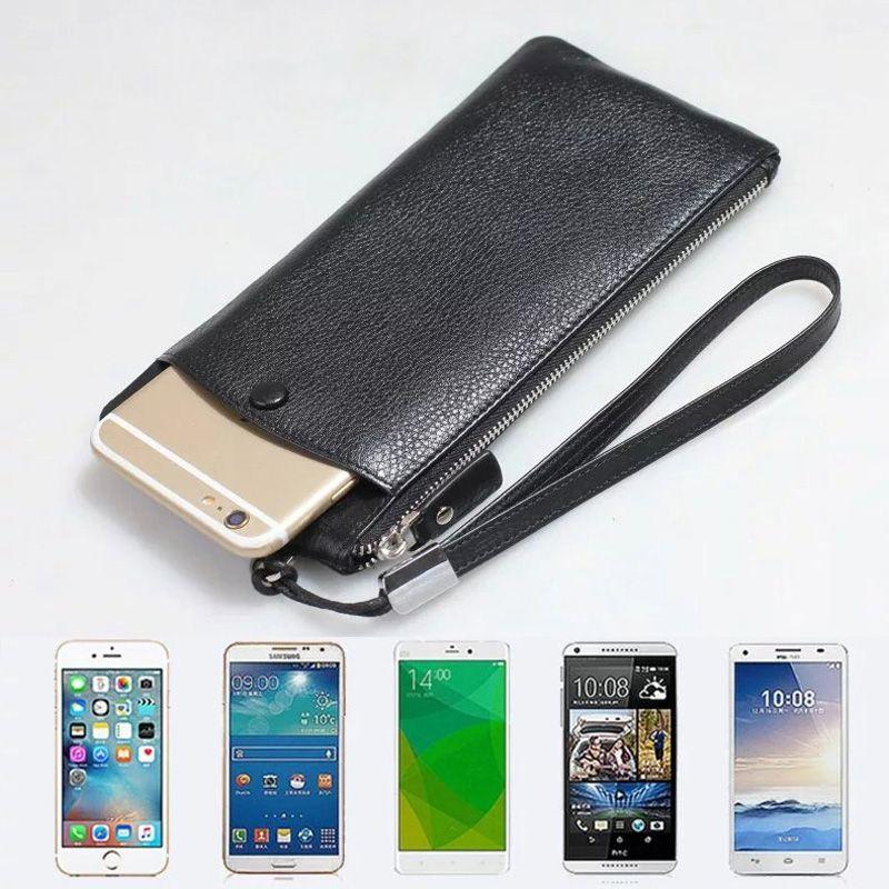 CKHB 100% Véritable sac en cuir Pour iphone X 6 s 7 8 Plus 8 Plus XS Max portefeuille sac à main style Universel 1.0 ~ 6 cas