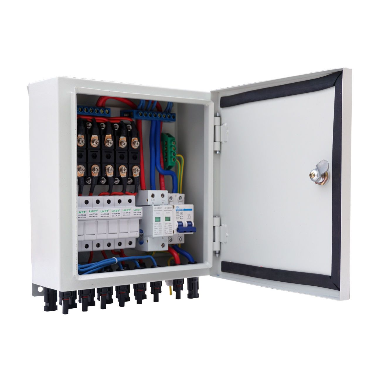 6-String Solar PV Array Combiner Box W Circuit Breakers Surge Lightning Protection for off grid solar energy system