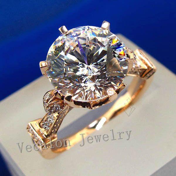 Vecalon de luxe Rose Or Couronne anneau de mariage pour les femmes Rondes cut 3ct AAAAA Zircon Cz 925 Sterling Argent Femelle Bande anneau