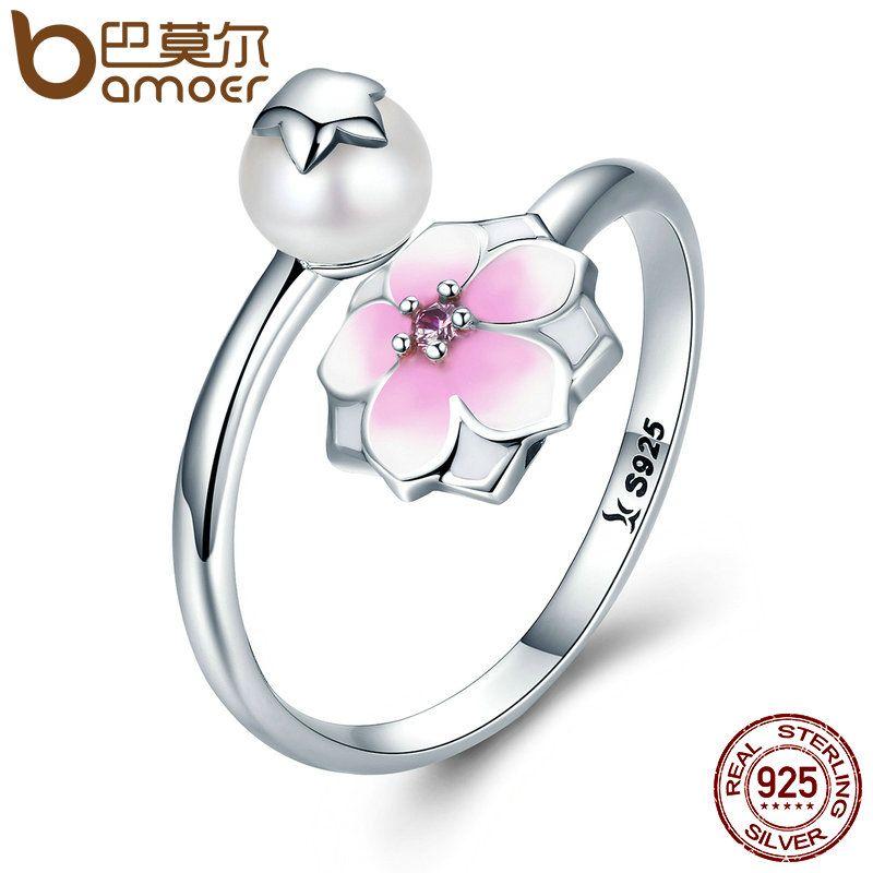 BAMOER 100% 925 Sterling Silver Magnolia Bloom, Pale Cerise Enamel Open Finger Rings for Women Sterling Silver Jewelry SCR126