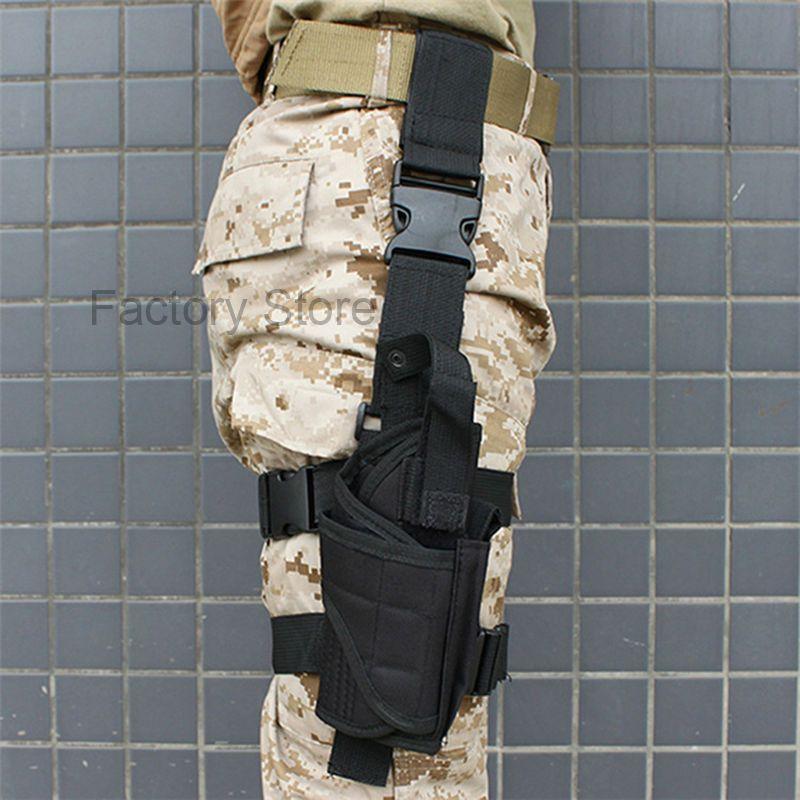 Airsoftsports Tactical Gun Drop Leg Holster Military Paintball IPSC Fondina Pistola Nylon Universal Pistol Thigh Black Holster