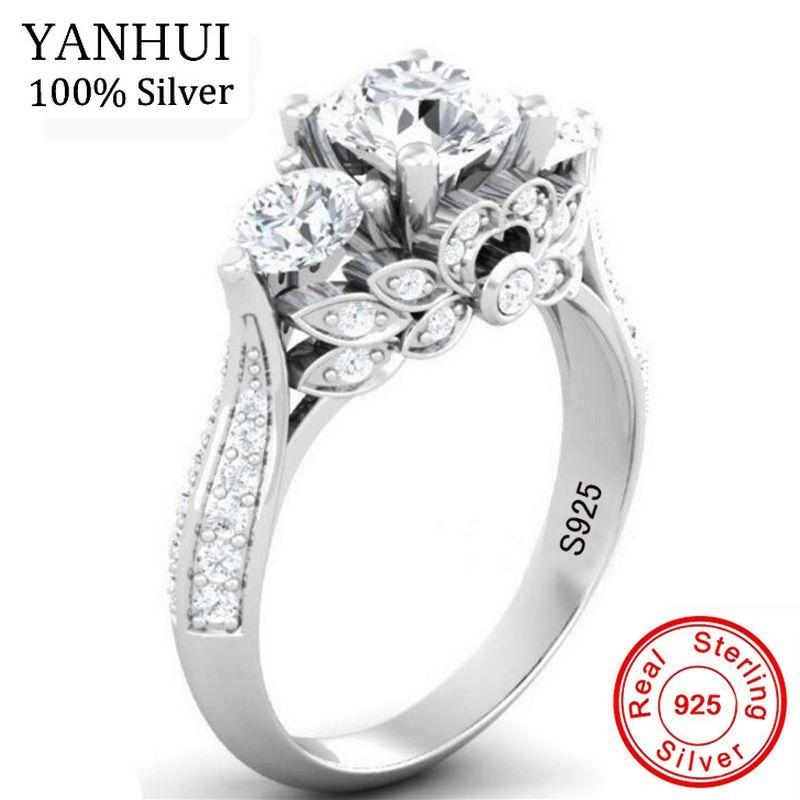 YANHUI Original Natürliche Silber Retro Blumen Ringe Für Frauen Top 5A Zirkonia Ring 925 Sterling Silber Hochzeit Schmuck J066