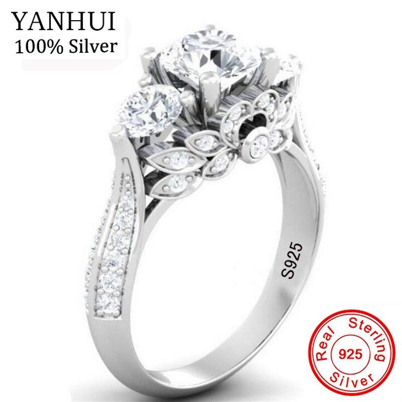 YANHUI Original Natural Silver Retro Flowers Rings For Women Top 5A Cubic Zirconia Ring 925 Sterling Silver Wedding Jewelry J066