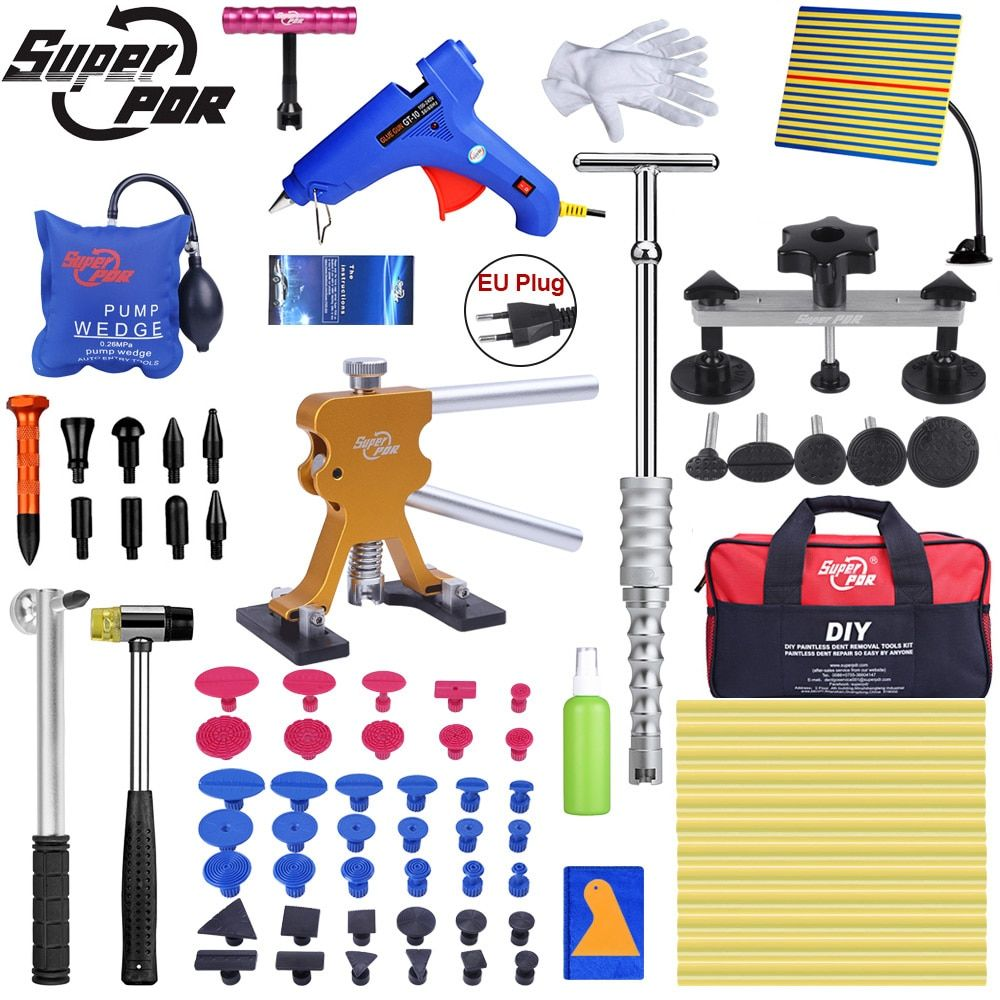 Super PDR Tools Auto Dent Puller Suction Cup Paintless Dent Removal Tool Air Pump Wedge Hand Tools Set With Line Board Tool Bags