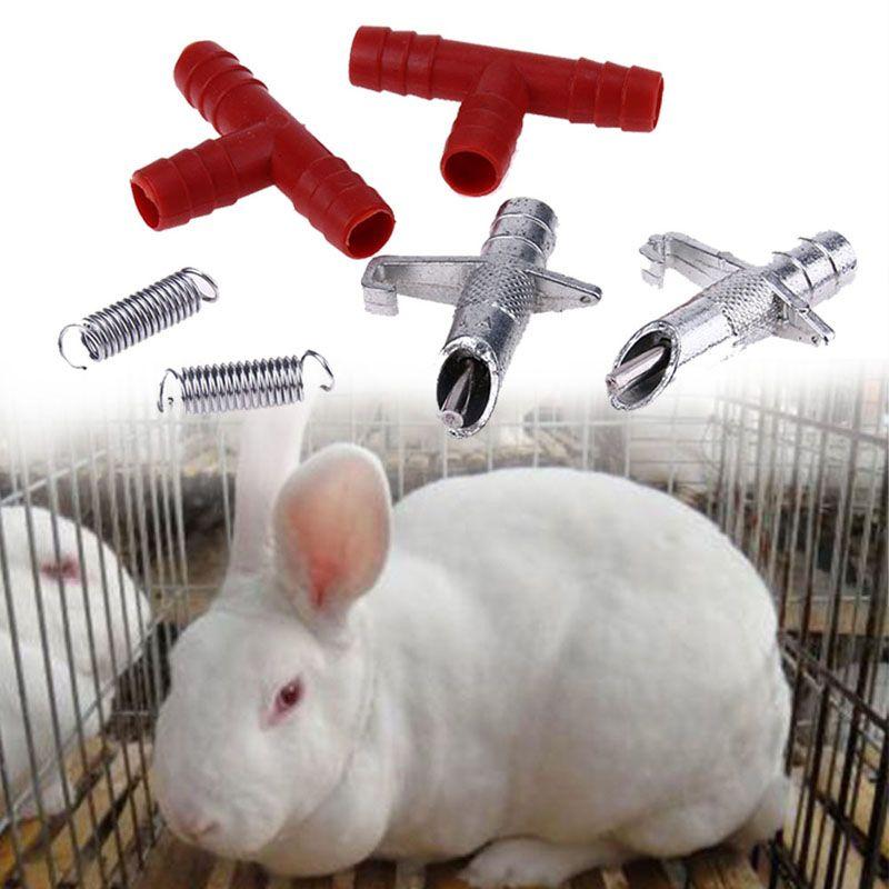 20 pièces distributeur d'eau à mamelon automatique + tube T + abreuvoir à ressort abreuvoir volaille lapins Nouse abreuvoir pour animaux de ferme